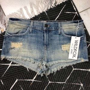 WILDFOX Lara Distressed Denim Cutoff Short